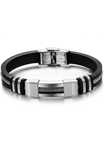 YOUNIQ black YOUNIQ Silver Silicone with Steel Line Bracelet for Men CC49AAC4287013GS_1
