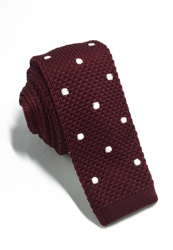 Splice Cufflinks Weave Series White Polka Dots Plum Purple Knitted Tie SP744AC77KTQSG_1