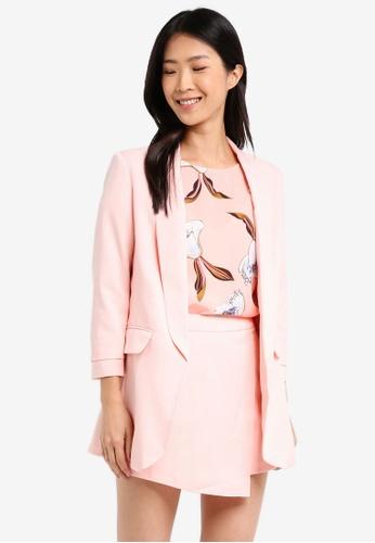 ZALORA pink Long Blazer 005A7AAA073FBFGS_1