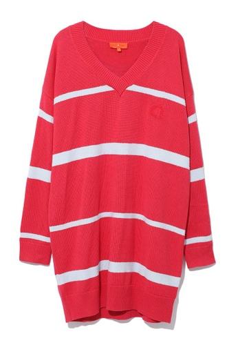 tout à coup pink Stripe sweater dress FBBFFAA6FB9054GS_1