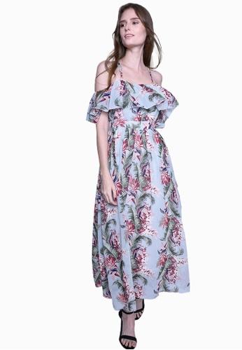 Caoros blue Open Shoulder Floral Maxi Dress F2D2BAA4407C3DGS_1