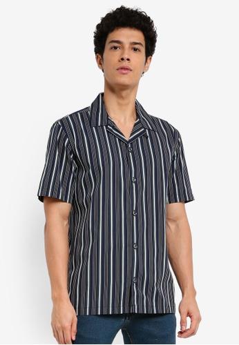 MANGO Man 藍色 短袖條紋襯衫 26531AAA93C0F6GS_1