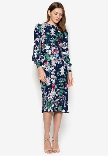 花卉長袖連zalora 包包 ptt身裙, 服飾, 夏日洋裝