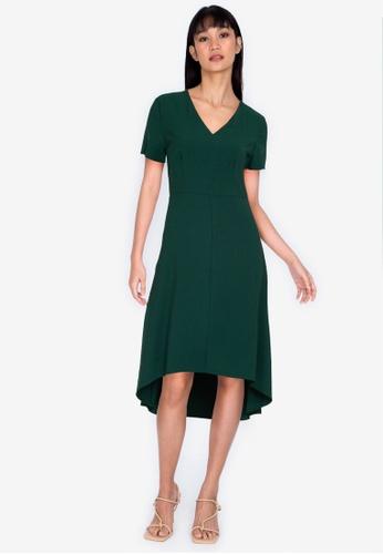 ZALORA BASICS green Short Sleeve Hi-Low Dress 238E1AAB75237CGS_1