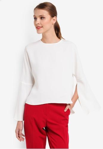 TOPSHOP white Split Sleeve Blouse 47727AA67C0442GS_1