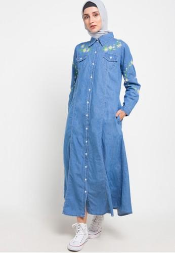 ZAHRA SIGNATURE blue Long Dress Denim Embro Flower 9A802AAA99C62AGS_1