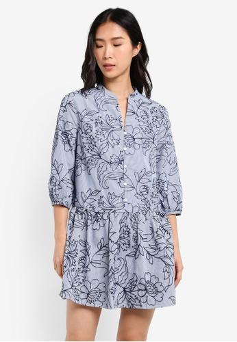 ZALORA blue Dropped Waist Dress 04263AAAB403C3GS_1
