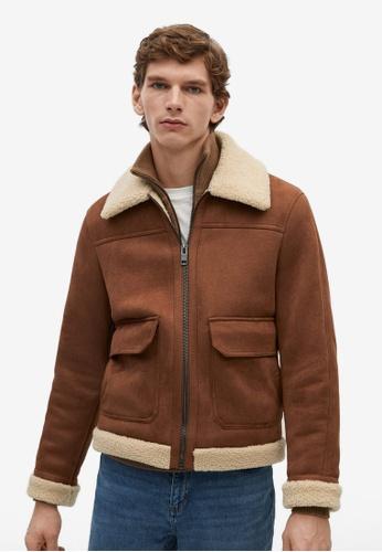 Mango Man brown Shearling-Lined Aviator Jacket A2F0FAAF74400AGS_1