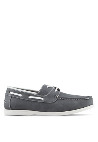 ZALORA grey Faux Leather Classic Boat Shoes F16F7SH5AD2F75GS_1