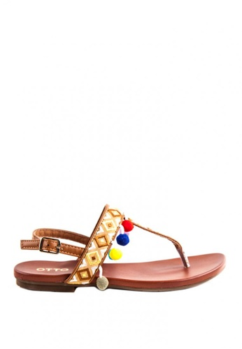 Otto brown Pom Pom Sling Back Sandals OT407SH0J11WPH_1