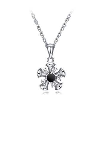Glamorousky white 925 Sterling Silver Flower Pendant In Cubic Zircon and Necklace AAFD5ACD73D663GS_1