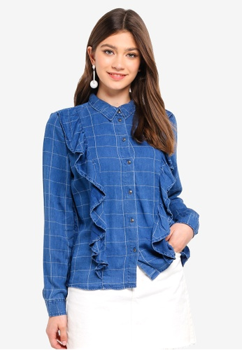 ONLY blue Izzy Check Frill Shirt 566A7AA0EB36D6GS_1