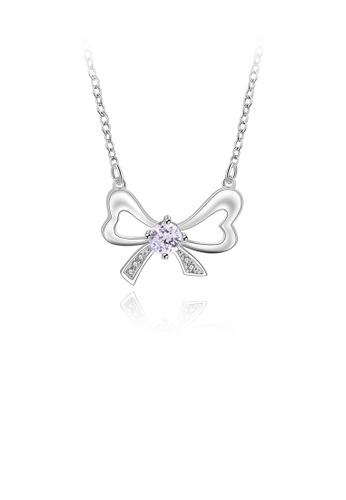 Glamorousky white Fashion Elegant Bow Cubic Zircon Necklace 6AA56ACB55CCCBGS_1