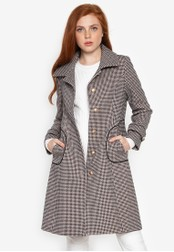Well Suited black Houndstooth Pattern Trench 5D6BCAA957526BGS_1