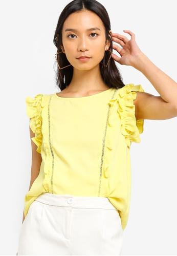 ZALORA 黃色 無袖荷葉飾上衣 2ACA1AA6A11757GS_1
