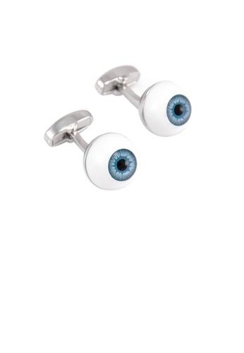 Glamorousky silver Simple Personality Blue Eyes Cufflinks A7EA2AC42C37EBGS_1