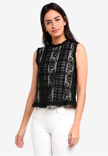 ZALORA black Check Lace Top 7E634AA3A48F37GS_1