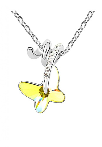 LOVENGIFTS yellow and silver LOVENGIFTS Adore Pendant Necklace (Lemon Yellow) LO429AC23SJGMY_1