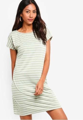 ZALORA BASICS green and multi Basic Jersey T-Shirt Dress 9D58DAA63C45BAGS_1