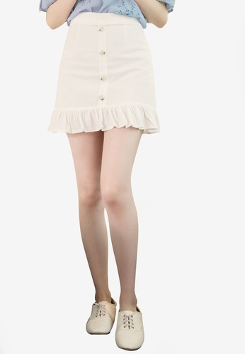 Eyescream white Ruffle Hem Mini Skirt 92753AA6C71AC4GS_1