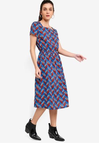 ZALORA blue and multi Square Neck Midi Dress 1DA2CAA16A8396GS_1