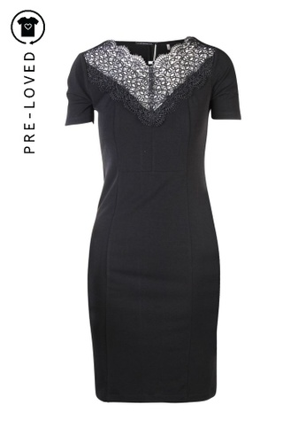 Tahari black Pre-Loved tahari Black Tube Dress with Lace Collar 0C3A0AA117DD40GS_1