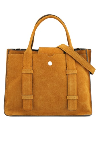 Mango yellow Double-Strap Leather Bag E1356ACD6F2D75GS_1