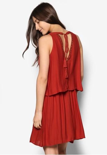 Virosaly 背esprit 內衣部繫帶層次洋裝, 服飾, 洋裝
