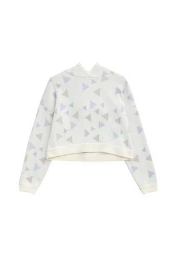 KLAPS white Multi-colors Triangle Patterned Cropped Hoodie 5BD10AAA8F93CDGS_1