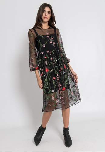4c37db1beb3a Buy SILVIAN HEACH Layerd Flower Embroidery Dress