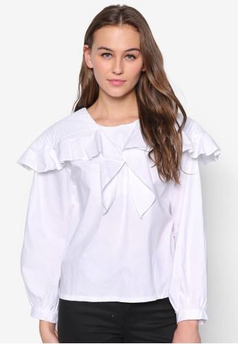 荷葉飾長袖上衣, 服飾,zalora時尚購物網的koumi koumi 服飾