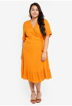 1b958cb1f722 Only CARMAKOMA orange Plus Size Savannah Wrap Dress 2D1A5AACBAA04CGS_1