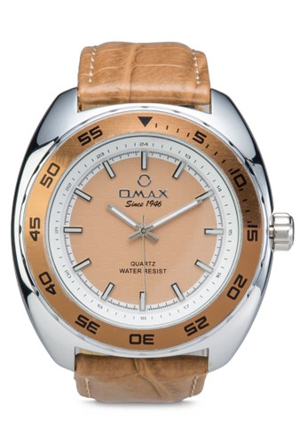 Omax OAS121S 三指針皮革錶esprit taiwan, 錶類, 其它錶帶