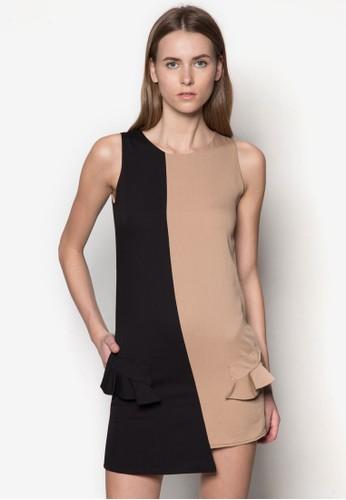 撞色拼接A 字連身裙,, 服飾, 正式esprit 京站洋裝