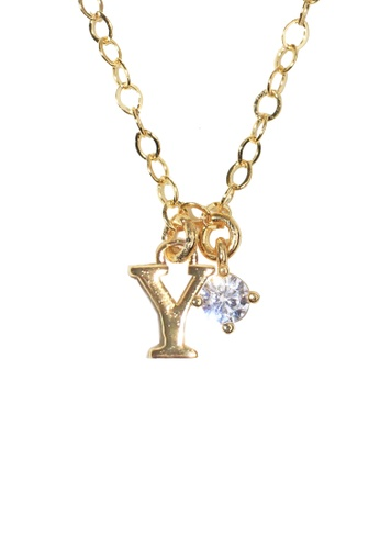 PSYNDROME gold Personalised Initial Letter Alphabet with Cubic Zircona Necklace - Y 492ADACE1002BCGS_1