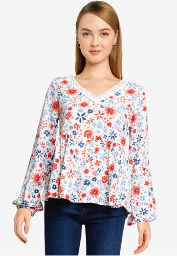 Springfield white Printed Floaty Blouse 2E2EDAA9D82BEEGS_1