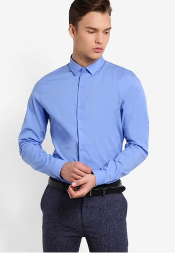 Topman blue Blue Ultra Muscle Fit Smart Shirt TO413AA06FTXMY_1