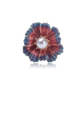 Glamorousky white Fashion and Elegant Red Flower Imitation Pearl Brooch CB83CAC829441DGS_1