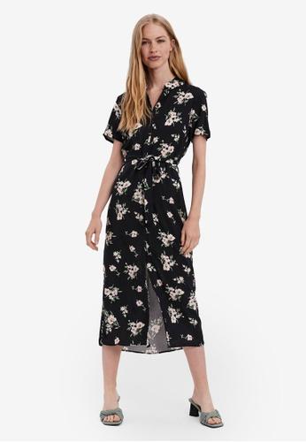 Vero Moda black Printed Midi Shirt Dress 96C3AAA69C5F37GS_1