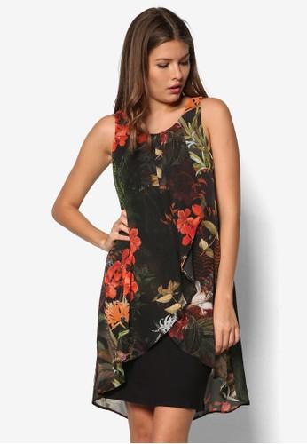 Petite 假兩件印花連身裙, 服飾, 正式洋zalora 衣服尺寸裝
