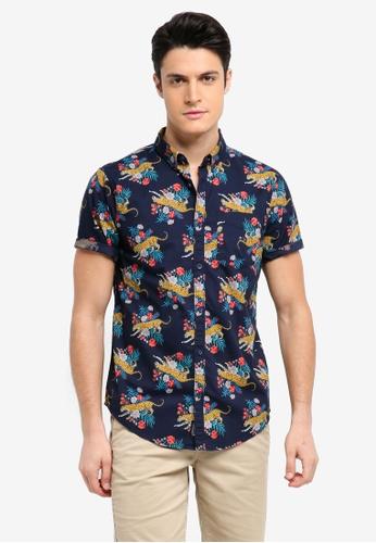Hollister 海軍藍色 Short Sleeve Printed Shirt 38502AA1F5D06BGS_1