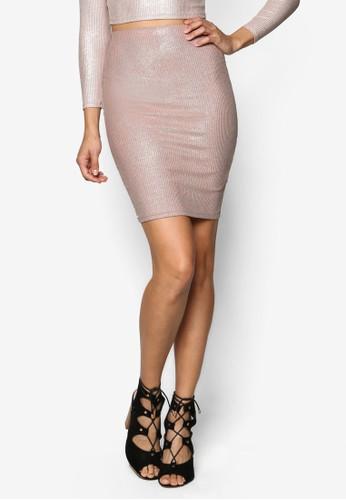 閃飾羅紋鉛筆esprit outlet 台灣短裙, 服飾, 服飾