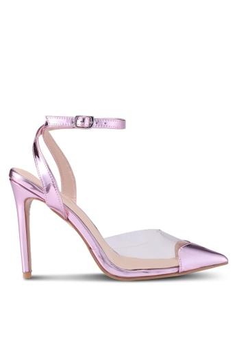 Public Desire 粉紅色 透明拼接尖頭高跟鞋 BED42SH85581DBGS_1