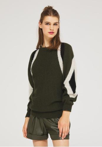 Sisley green Oversized Sweater with Inlay 75446AA264B775GS_1