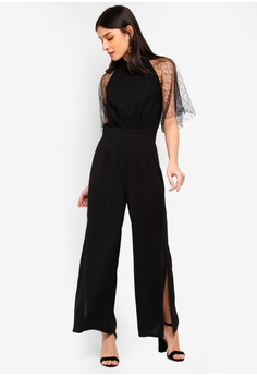 71a0980548 10% OFF ZALORA Lace Sleeves Jumpsuit RM 119.00 NOW RM 106.90 Sizes XS S M L  XL