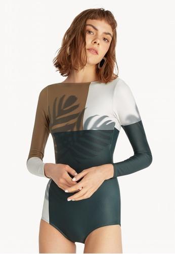 d5edd3833e345 Pomelo brown Sea Salt & Vinegar Long Sleeve Swimsuit - Brown  27E32US2F3E6DFGS_1
