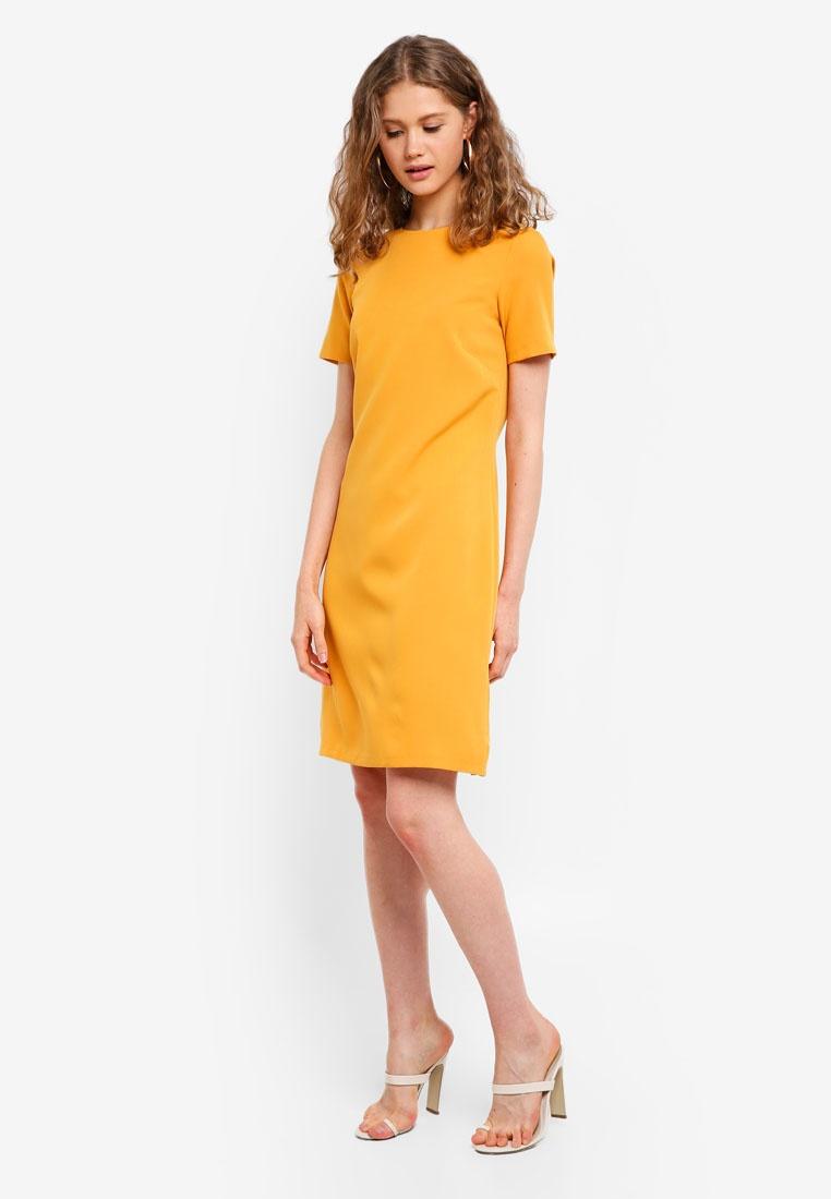 CLOSET Tulip Dress Mustard Tie Back qxxpwat