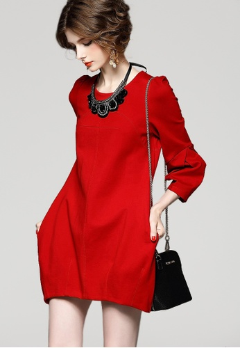 Sunnydaysweety red Slim Sleeve Dress CA010411RD SU219AA0GR2ASG_1