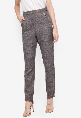 Zalia brown Contrast Trim Tailored Pants E1690AAE723A64GS_1
