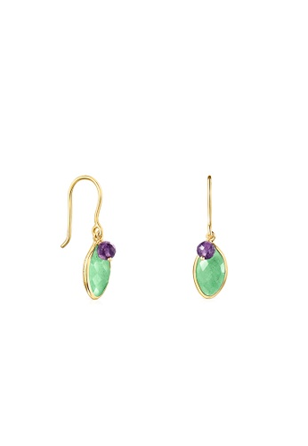 Tous green Silver Vermeil TOUS Good Vibes Earrings with Aventurine and Amethyst 4F9D2ACFA23CB7GS_1